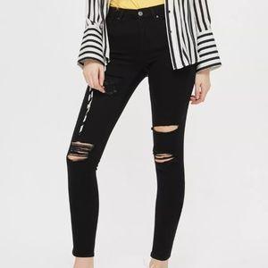 NWT Topshop Black Rip High Waist Jeans- W2634